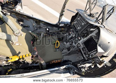 Modern fighter jet cockpit and pilot seat top view poster