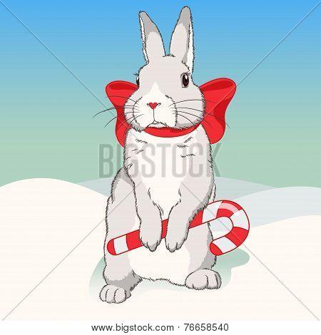 Christmas fluffy white standing rabbit