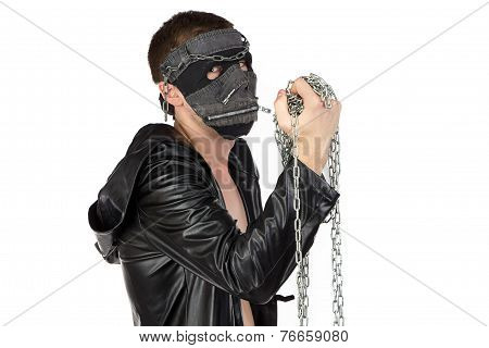 Image of the brunet man in mask with chain on white background poster