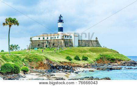 Barra Lighthouse (Farol da Barra) in Salvador, Brazil.