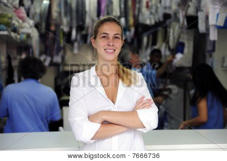 Happy Owner Of A Dry Cleaning Business