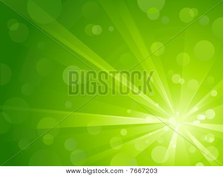 Green light burst with shiny light dots
