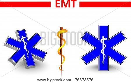 Emergency medical technician.  global symbol of emergency medical service. Paramedic Medical Designs poster