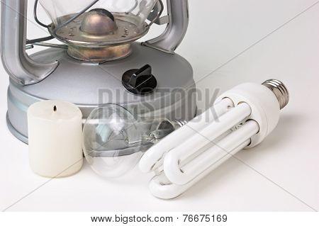 Kerosene Lamp, And Electric Lamps