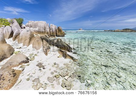Granite Rocks And Coral, La Digue, Seychelles
