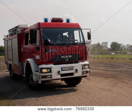 Polish Fire Engine Truck Running During A Mission