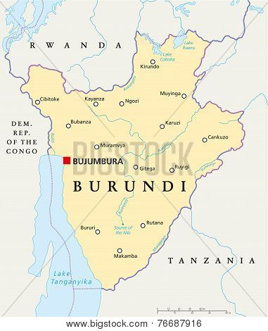 Burundi Political Map with capital Bujumbura, national borders, important cities, rivers and lakes. English labeling and scaling. Illustration. poster