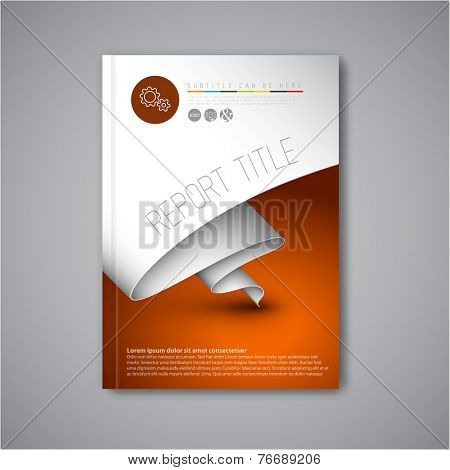 Modern Vector abstract brochure / book / flyer design template with paper