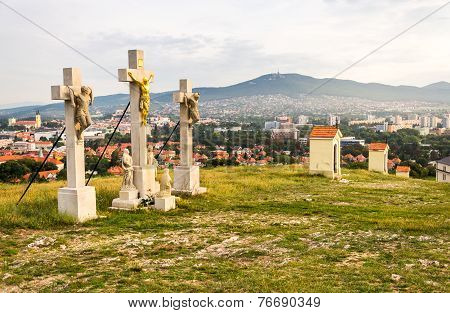 Jesus Christ Cross on Calvary with City of Nitra and Zobor Mountain in Background poster