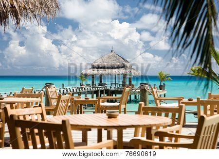 Water restaurant - ocean and sky view, Kuramathi island, Maldives