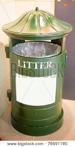 Retro Green Garbage, Trashcan Or Litter