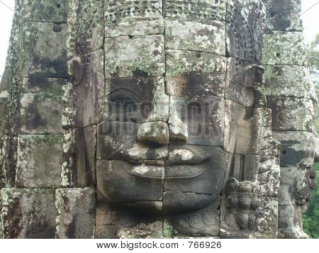 Stone Face in Banyon Temple, Angkor Complex in Cambodia