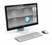 Professional desktop workstation computer PC with 3D development software interface on monitor screen, keyboard and mouse isolated on white background poster