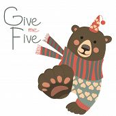 Bear says and gesturing Give me five poster