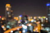 Night lights of the big city, bokeh background, Bangkok city, Thailand poster