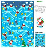 Christmas or New Year themed 3d maze game with stairs, ladders and Santa delivering presents through the chimneys. Answer included. poster