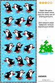 Christmas, winter or New Year visual puzzle: Match the pairs - find the exact mirror copy for every row of skating penguins. Answer included. poster