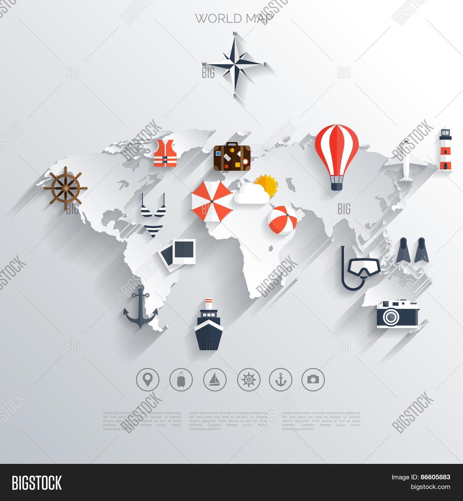 Vector y foto abstract map travel concept bigstock abstract map travel concept background flat icons tourism concept images gumiabroncs Image collections
