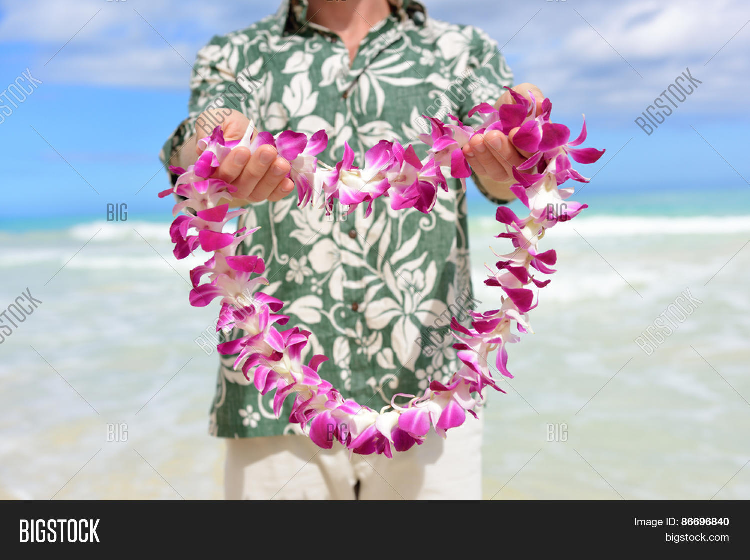 Hawaii tradition image photo free trial bigstock hawaii tradition giving a hawaiian flowers lei portrait of a male person holding a izmirmasajfo