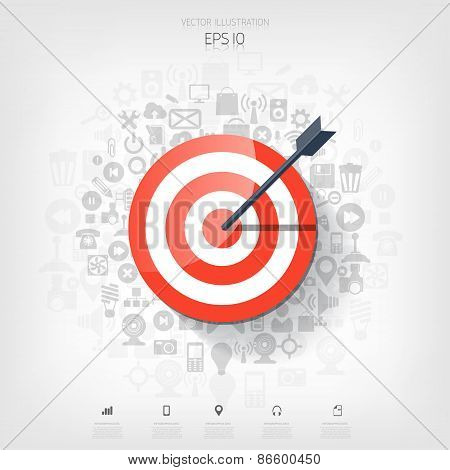 Flat target with web application icons. Management concept background. Teamwork and business aims.