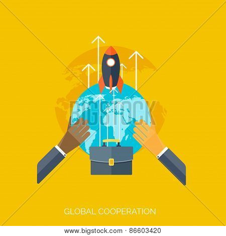 Flat hands. Global cooperation concept background. Business and moneymaking. Marketing and managemen