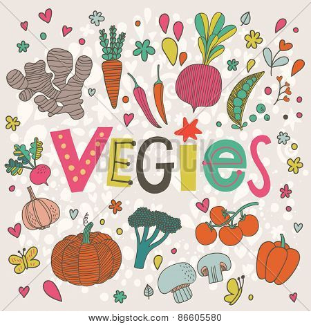 Sweet vegies concept background in vector. Tasty ginger, carrot, pepper, chili, beet, peas, garlic, pumpkin, broccoli, mushroom, bell pepper and tomato  in funny cartoon style