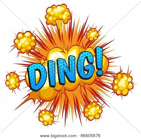 Word ding with explosion background