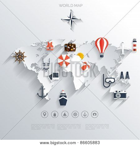 Abstract map.World travel concept background.  Flat icons. Tourism concept image.Holidays and vacati