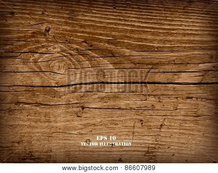 Realistic highly detalized wood background. Old wooden plank.