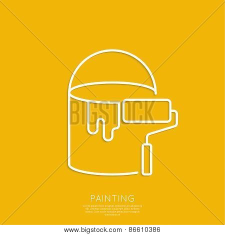 Bucket of paint and roller