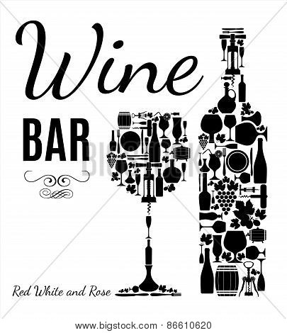 Wine menu. Retro wine card.