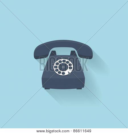 Flat web internet icon. Old vintage retro telephone.
