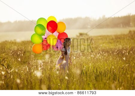 Girl With A Bunch Of Balloons