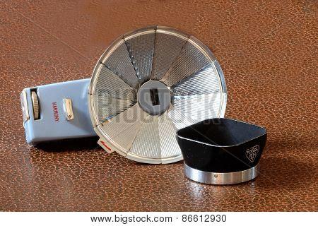 Retro Camera Flash And Lens Shade