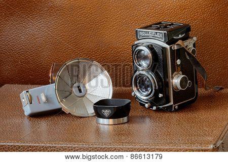 Retro Camera Rollieflex, Flash And Lens Shade