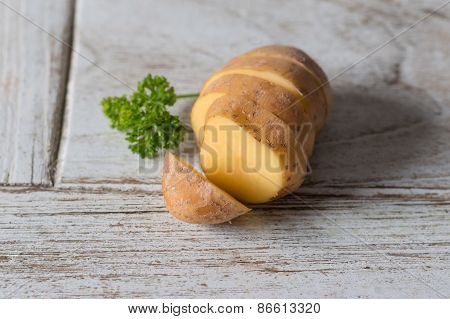 One Fresh Potato On Wood Table, Food Cook Rustic Still Life Style