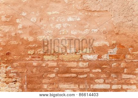 Porous Texture Of A Medieval Brick Wall