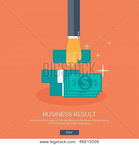 Vector illustration. Flat background with hand and money. Monay making and saving. Pay per click and