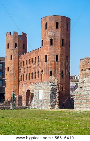 Porte Palatine, ancient monument of Turin Italy