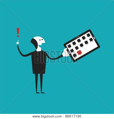 Man Holding Tablet Pc Vector Concept In Flat Cartoon Style