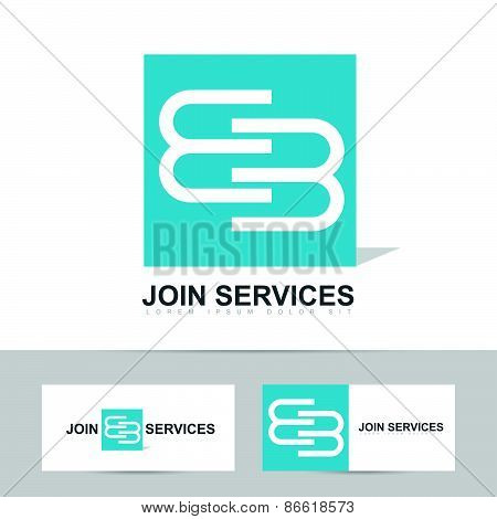 Abstract business logo with join or joining concept design poster