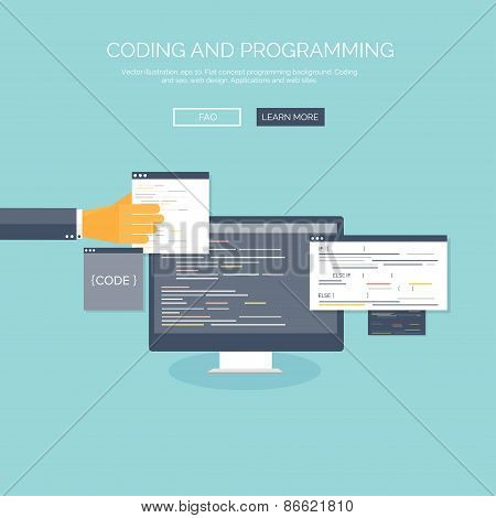 Vector illustration. Flat concept background, coding and programming. Search engine optimization.