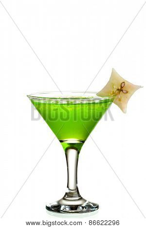 Cocktail with Midori, Rum, Lychee and Apple