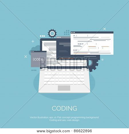 Vector illustration. Flat computing background. Programming,coding. Web development and search. SEO.