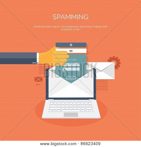 Vector illustration. Flat spamming background. Spam. Email. Global communication. Social network. poster
