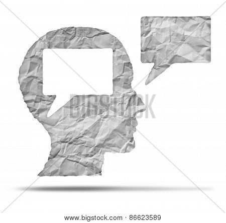 Speak out concept and express your opinion symbol as a crumpled paper shaped as a human head and talk balloon as a communication icon for broadcasting inner thoughts. poster