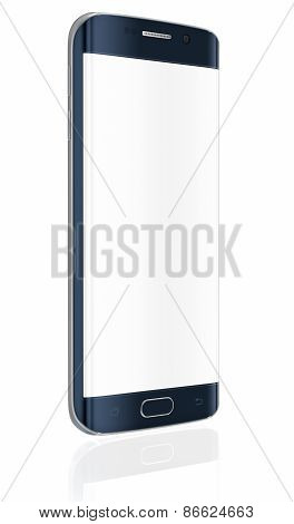 Smartphone edge with blank screen on white background poster