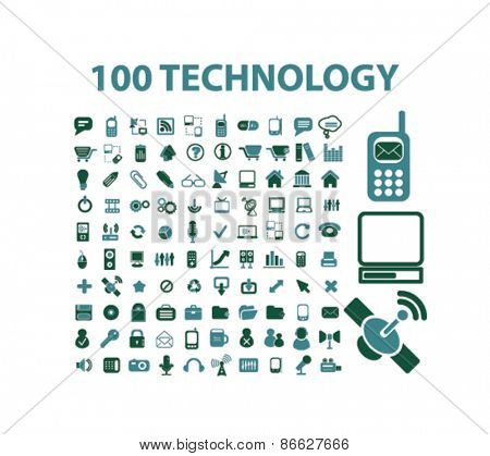 100 technology, information, internet icons, signs, illustrations set, vector