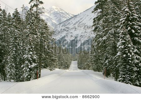 Snowy mountain road