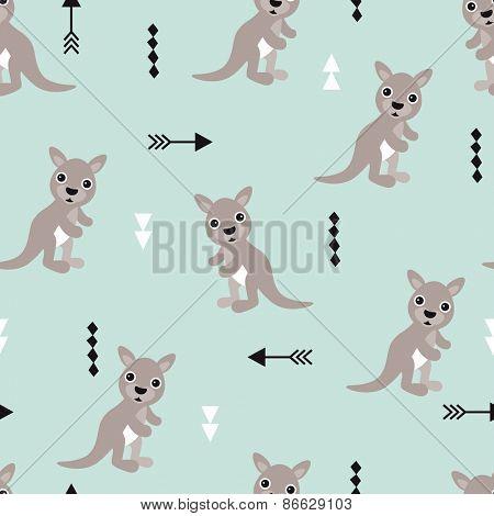 Seamless kids kangaroo illustration geometric arrows australian background pattern in vector
